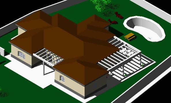 imagen 3d chalet, en Vivienda unifamiliar 3d - Proyectos