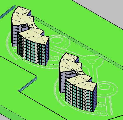imagen 3d del edificio departamental, en Oficinas bancos y administración - Proyectos