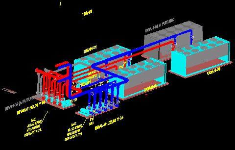 imagen 3d equipos y tuberia aire acondicionado, en Aire acondicionado - Climatización