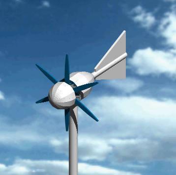 imagen Aerogenerador 3d, en Fuerza motriz - Electricidad iluminación