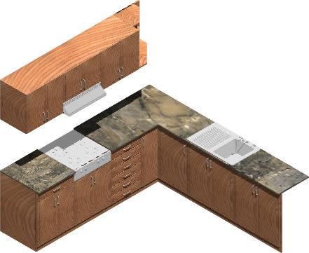 Planos de amoblamiento de cocina 3d con materiales for Planos de cocinas 3d
