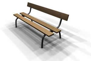 imagen Banca de jardin 3d con materiales aplicados, en Equipamiento - Parques paseos y jardines