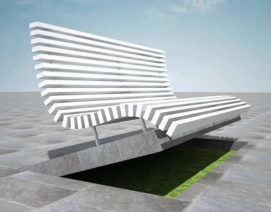 imagen Banca de parque 3d, en Equipamiento de parques paseos y plazas - Equipamiento urbano