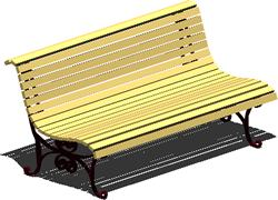 imagen Banco de madera con patas de hierro forjado, en Equipamiento de parques paseos y plazas - Equipamiento urbano