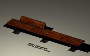 imagen Banco de madera - escaño, en Equipamiento de parques paseos y plazas - Equipamiento urbano