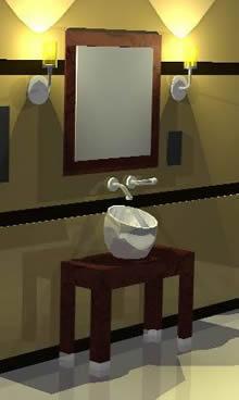 imagen Baño 3d; materiales aplicados, en Lavatorios - Sanitarios
