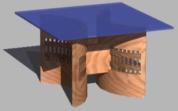 Planos de Base de madera para cubierta de vidrio en Mesas y