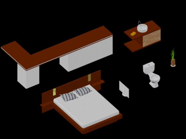 planos de bloques 3d muebles artefactos sanitarios