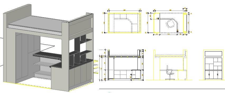 imagen Cama alta de  madera, en Dormitorios - Muebles equipamiento