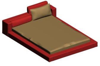 imagen Cama baja doble 3d, en Dormitorios - Muebles equipamiento