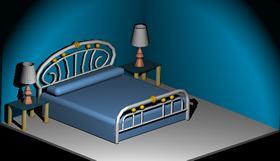 imagen Cama con mesa de noche, en Dormitorios - Muebles equipamiento