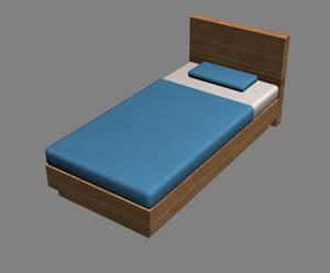 Cama individual 3d en dormitorios muebles equipamiento for Cama 3d dibujo
