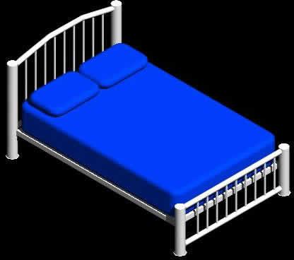 imagen Cama matrimonial en 3d, en Dormitorios - Muebles equipamiento