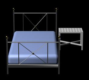 imagen Cama y mesa de noche 3d, en Dormitorios - Muebles equipamiento