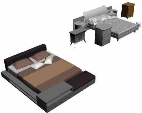Camas 3d en dormitorios muebles equipamiento en planospara for Cama 3d dibujo