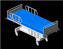Planos de camilla 3d en equipamiento hospitales en for Cama 3d dibujo