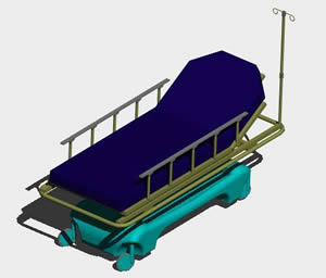 Planos de Camilla 3d en Equipamiento  Hospitales en PlanosPara