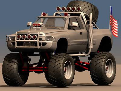 imagen Camioneta monster 3d, en Automóviles en 3d - Medios de transporte