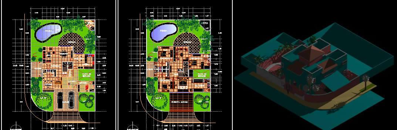 imagen Cancun residencia en manzana 15 plantas y perspectivas, en Vivienda unifamiliar 3d - Proyectos
