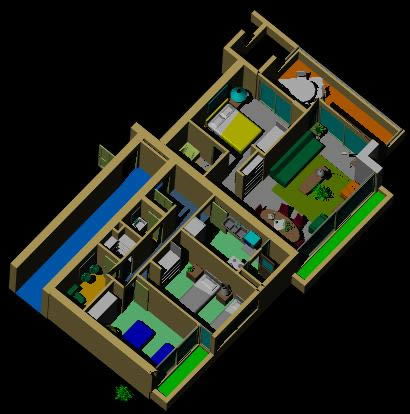 Planos de casa 3d amueblado en perspectivas dibujando con autocad en planospara - Planos de casa en 3d ...