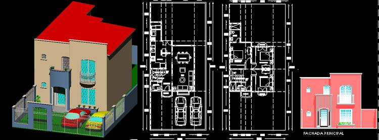 imagen Casa de dos niveles de 124 m2, en Vivienda unifamiliar 3d - Proyectos