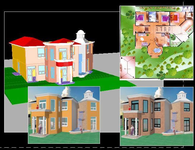 Plano casa 2 pisos 3d images for Plano casa 3d