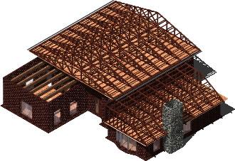 imagen Casa en el cerro - dibujo en 3d, en Cubiertas - estructuras - Detalles constructivos