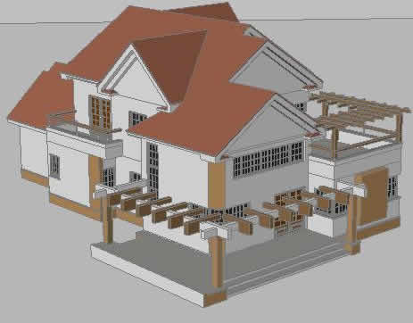 Planos de casa moderna en 3d en vivienda unifamiliar 3d - Dibujar planos de casas ...