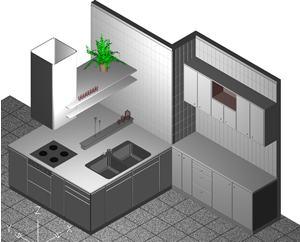 imagen Cocina 3d con materiales aplicados, en Cocinas - Muebles equipamiento