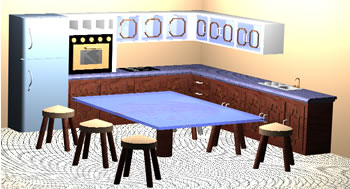 Planos de cocina en 3 dimensiones en cocinas muebles equipamiento en planospara - Dimensiones muebles cocina ...