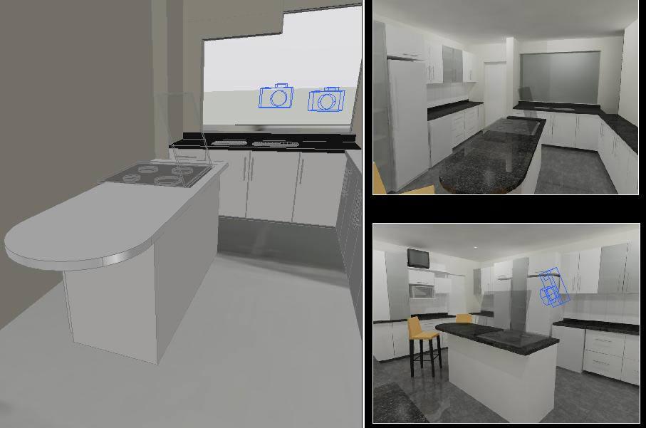 imagen Cocina la molina en 3d, en Vivienda unifamiliar 3d - Proyectos
