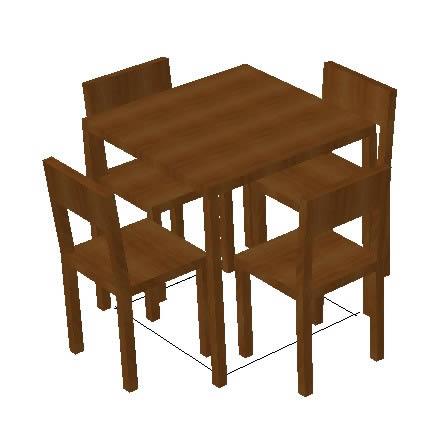 Planos de comedor de madera de 4 puestos en mesas y for Comedor de madera 4 sillas