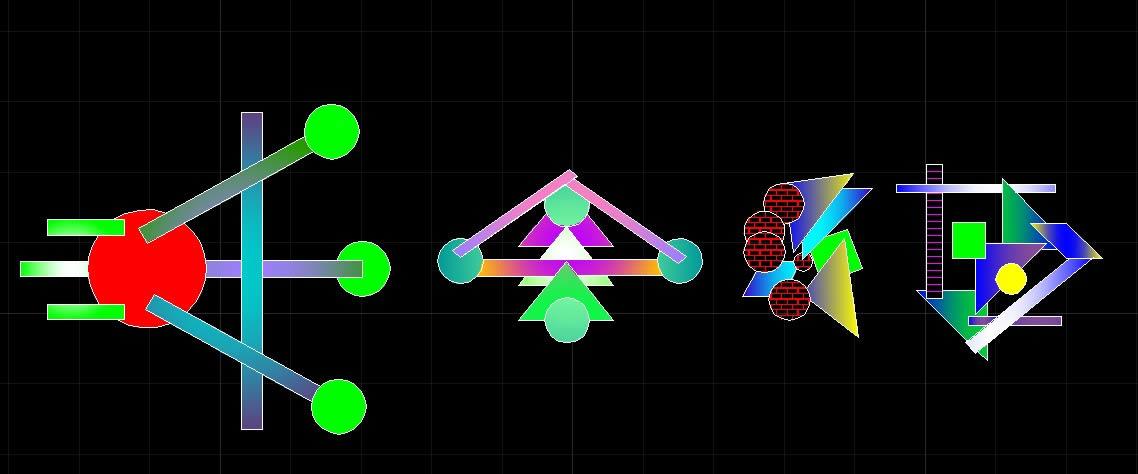 imagen Composicion de figuras geometricas, en Ejercicios varios - Dibujando con autocad