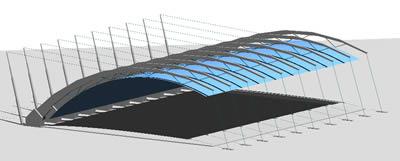 imagen Cubierta policarbonato  cancha basquetbol 3d, en Proyectos estadios - Deportes y recreación