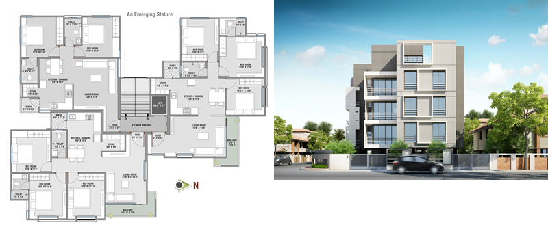 Planos de Dibujo de edificio planta y fachada en Detalles