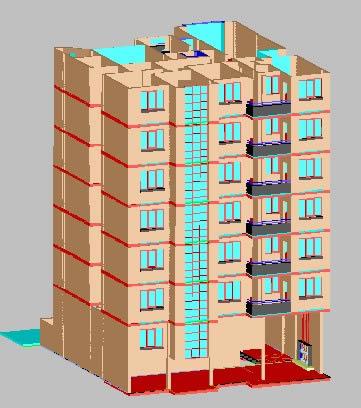 Planos de Edificio 3d en Vivienda multifamiliar  condominios