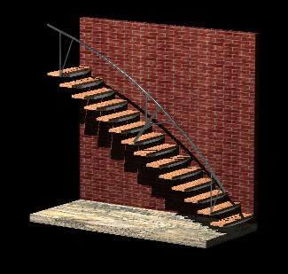 imagen Escalera 3d de anclaje a pared estructura metalica, en Modelos de escaleras 3d - Escaleras