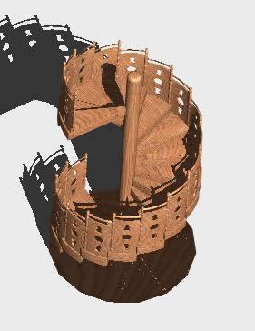 imagen Escalera caracol madera 3d, en Modelos de escaleras 3d - Escaleras