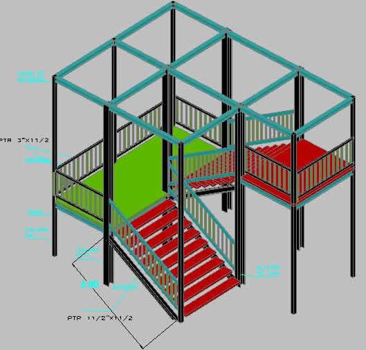 imagen Escalera de emergencia en 3d, en Modelos de escaleras 3d - Escaleras