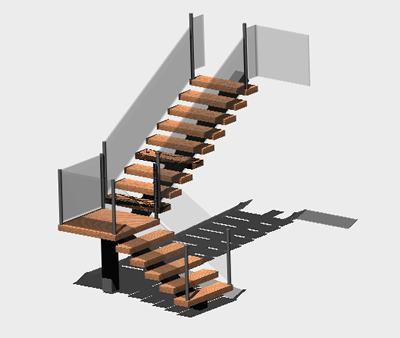 imagen Escalera de estructura metalica y barandal de vidrio 3d, en Modelos de escaleras 3d - Escaleras