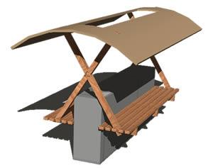 imagen Espera de colectivos - en 3d con materiales aplicados, en Transferencia peatón - vehículo paradores - Equipamiento urbano