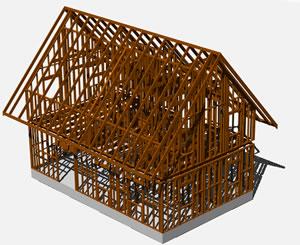 imagen Estructura de madera de una cabaña en 3d, en Madera - técnica tradicional - Sistemas constructivos