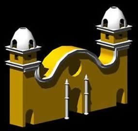 imagen Fachada colonial 3d, en Edificios varios - Historia