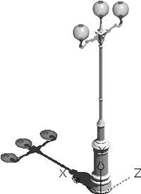 imagen Farol de 3 luminarias, en Luminarias y faroles - Parques paseos y jardines