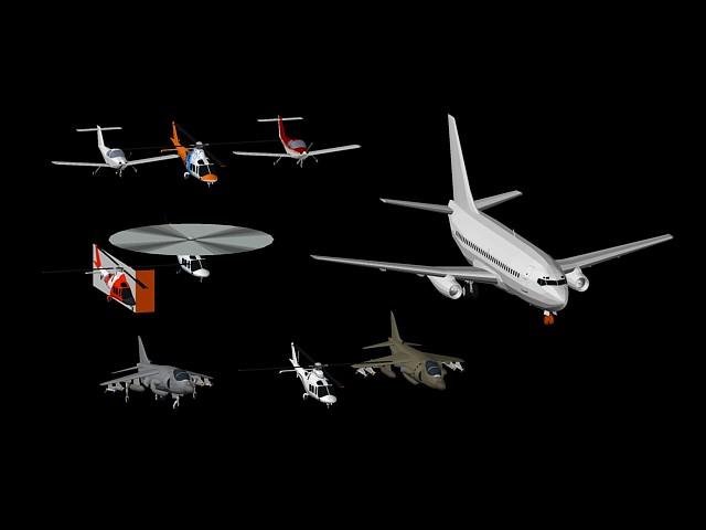 imagen Helicopteros y aviones 3d, en Aeronaves en 3d - Medios de transporte