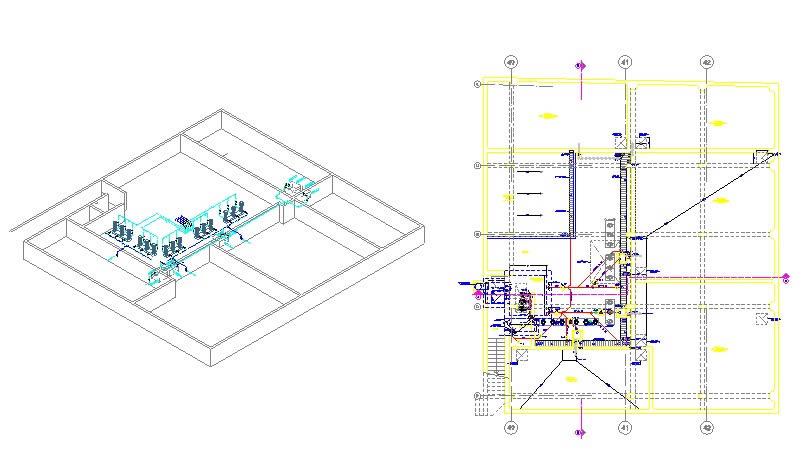 imagen Isometria y planta de instalaciones sanitarias para un hotel de 3 sotanos, en Proyectos - Sanitarios