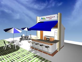 imagen Kiosco en detalle con mobiliario 3d, en Quinchos - churrasquerías - cocinas alternativas - Parques paseos y jardines
