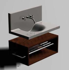 imagen Lavabo minimalista 3d, en Lavatorios - Sanitarios