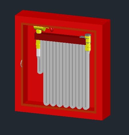 imagen Manguera en gabinete 3d, en Instalaciones contra incendios - Instalaciones