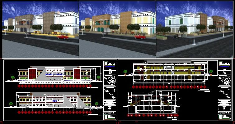imagen Mercado tlacotepec de benito juarez fachadas, en Centros comerciales supermercados y tiendas - Proyectos